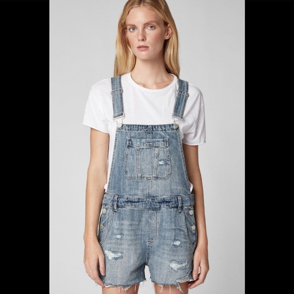 BlankNYC Fling Cleaning Distressed Jean Overalls